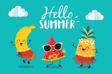 Hello Summer With Cute Banana, Watermelon And Pineapple Character Enjoying Summer.