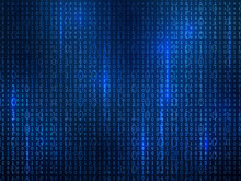 Binary Code. Computer Matrix Code Falling Digits Random Numbers. Hacker Coding, Mining Cryptocurrency Futuristic Cyberspace Vector Background