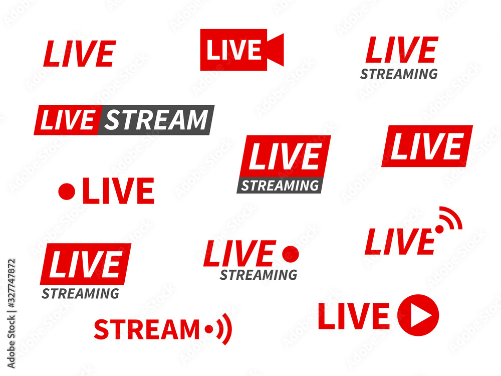 Fototapeta Live streaming icons. Broadcasting video news, tv stream screen banners. Online channel, live event stickers isolated vector set
