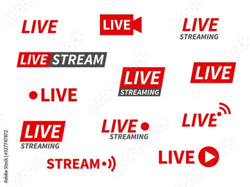 Fototapeta Live streaming icons. Broadcasting video news, tv stream screen banners. Online channel, live event stickers isolated vector set obraz