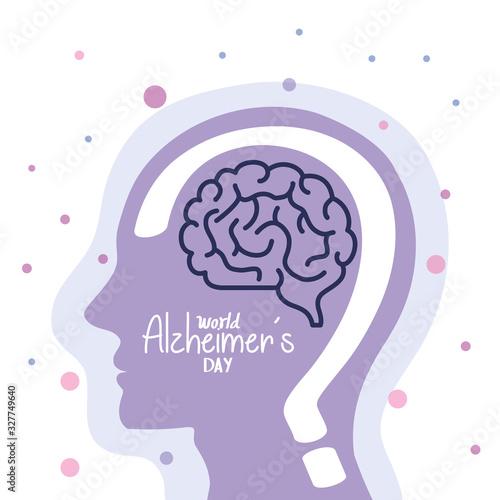 Photo world alzheimer day with head profile vector illustration design