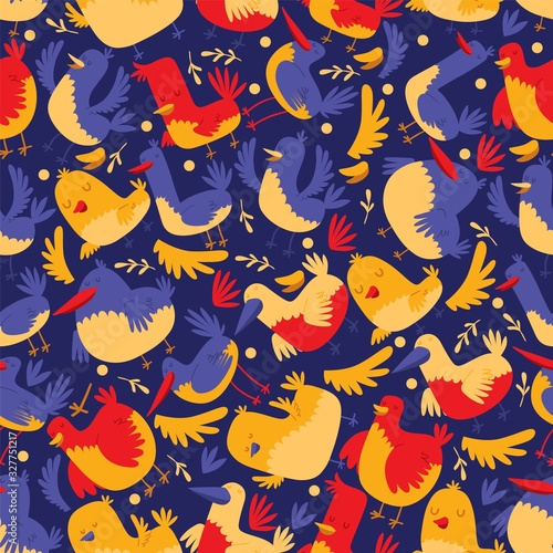 Bird seamless pattern vector illustration, cartoon style cute birdies on blue background for lovely fabric print design, joyful decoration, wallpaper, adorable children or baby clothes ornament Canvas Print