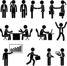 Stickman Business Icons