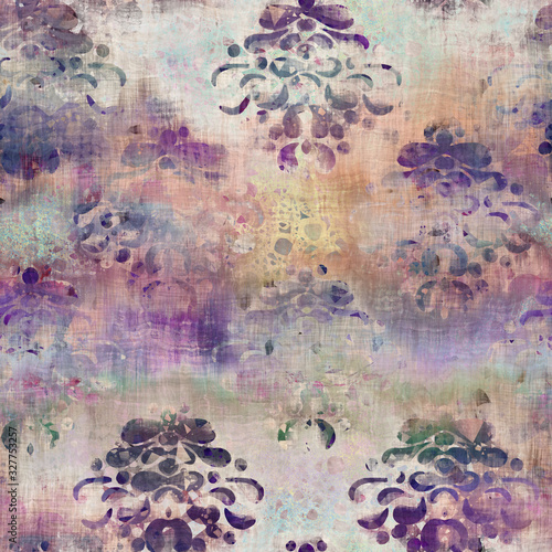 Seamless mixed media collage design in old aged worn look. Hand drawn damask design overlaid, mottled, and distressed on fabric texture. Seamless repeat raster jpg pattern swatch.