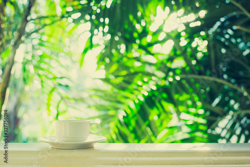 Obraz Coffee cup outdoor - window view tropic palm tree sunlight in the morning - fototapety do salonu