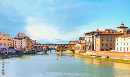 Bridge of  Ponte Vecchio on the river Arno - Florence, Italy Wallpaper Mural