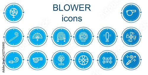 Editable 14 blower icons for web and mobile Canvas Print