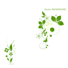 Green Flowers Background For Your Text