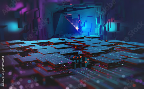 Cyber cave, stage for performance, stage in digital space. Information blocks in abstract architectural forms. High tech 3D illustration
