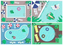Top View Pool Flat Color Vector Illustrations Set. Luxury Sea Resort. Clear Water For Swimming. Lounge Chairs With Umbrellas. Premium Hotel For Summer Vacation. 2D Cartoon Landscape