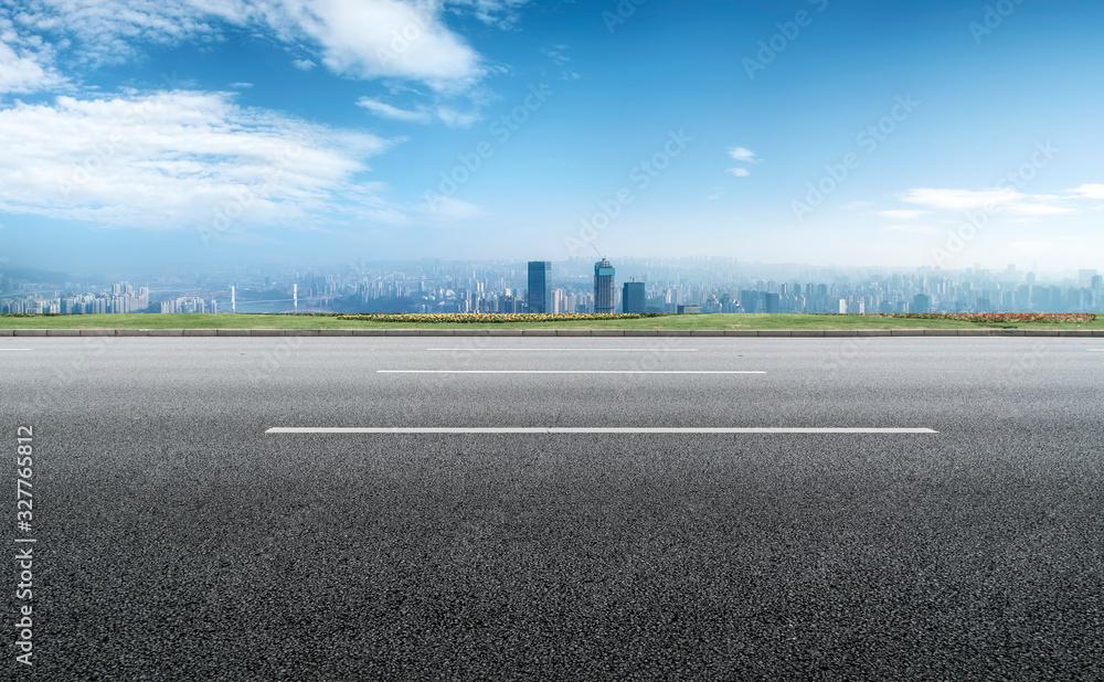 Fototapeta Chongqing urban skyline and asphalt road architectural landscape..