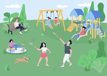 Children Playground Flat Color...