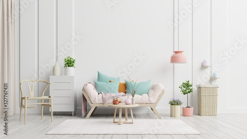 Obraz Bright and cozy modern living room interior have sofa and lamp with white wall background. - fototapety do salonu