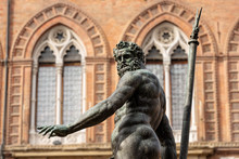 Bronze Statue Of Neptune (1566), Roman God, Fountain In Piazza Del Nettuno, And Palazzo D'Accursio, Town Hall In Bologna (XIII Century). Emilia-Romagna, Italy, Europe. Artist Giambologna (1529-1608)