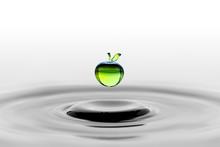 Falling Water Drop In Green Ap...