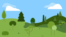 Flat, Line Illustration Of A Nature Scene With A Variety Of Abstract Trees Of Different Shades Of Green, On Hills. Background Has A Blue Sky With Clouds. Vectors Can Be Used As Set.