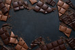 canvas print picture - Slices of dark and milk chocolate. Top view with copy space.