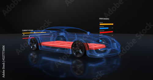 Foto Modern Futuristic Electric Car On Production Platform