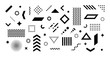 Big set of abstract vector geometric shapes and trendy design elements for illustrations on white background. Editable stroke. Use for web, sites, print, mobile apps