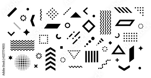 Obraz Big set of abstract vector geometric shapes and trendy design elements for illustrations on white background. Editable stroke. Use for web, sites, print, mobile apps - fototapety do salonu