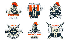 Middle Ages Logo Design Collection, Medieval Premium Club Badges Vector Illustration On White Background