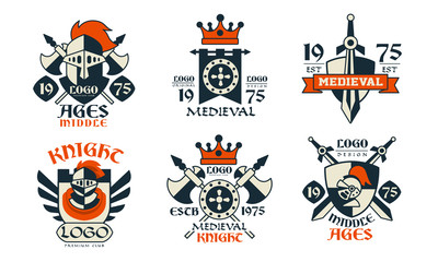 Middle Ages Logo Design Collection, Medieval Knight Premium Club Badges Vector Illustration on White Background