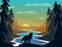 Wolf On Sunrise Background. Ri...