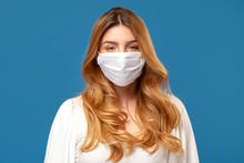 Woman Wearing Medical Mask.