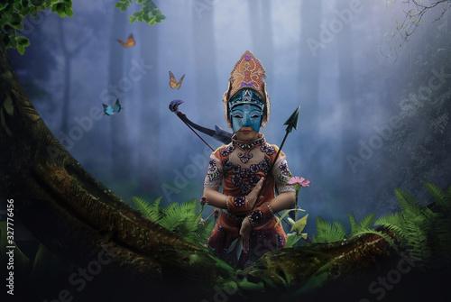 Платно archer girl in forest dark