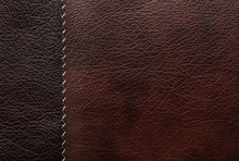 Leather Samples Of Different Colors For Design As Background, Closeup