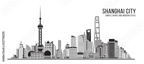 Fotografering Cityscape Building Abstract Simple shape and modern style art Vector design - Sh