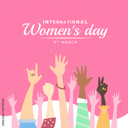 international women day banner with cute Hands up woman on pink background vector design