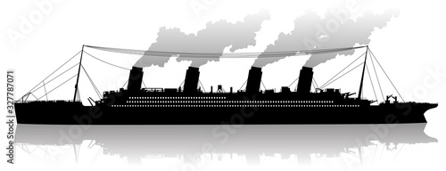 Fototapeta Silhouette of a steam cruise ship