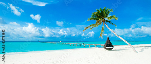 Fototapeta tropical Maldives island with white sandy beach and sea obraz
