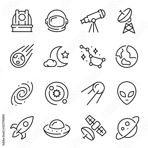 Space and astronomy linear icons set vector illustration Canvas Print