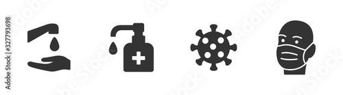 Hygiene vector icon set Canvas Print
