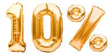 Golden Ten Percent Sign Made O...