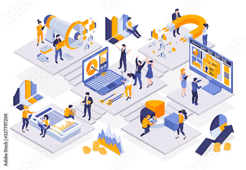 Isometric Marketing Strategy Composition