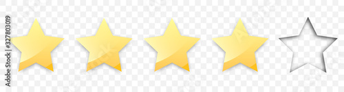 Fototapeta Four golden stars with shadow for review of product rating on a transparent background, for web sites and mobile applications. Vector illustration EPS10 obraz na płótnie
