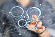 Leinwandbild Motiv Digital icons with colorful dialog speech bubbles.