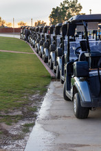 Golf Carts Lined Up Ready For ...