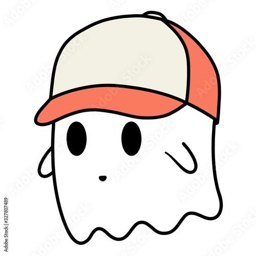 Cartoon ghost with a baseball cap