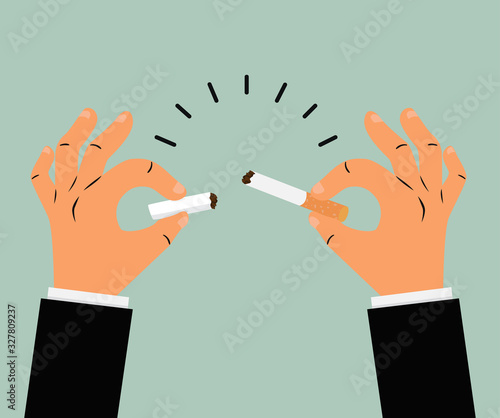 Businessman hands broken cigarette vector Wallpaper Mural