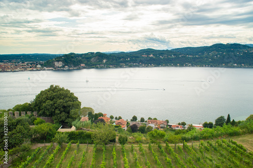 Fotografering panorama of the lake from the view of the fortress of Angera in Italy