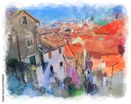 Watercolor illustration of Kotor in Montenegro, Europe. Beautiful bright color image. Top view of the houses with red tiled roofs and a narrow street on a sunny day.