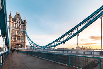 Beautiful Tower bridge in London at sunrise