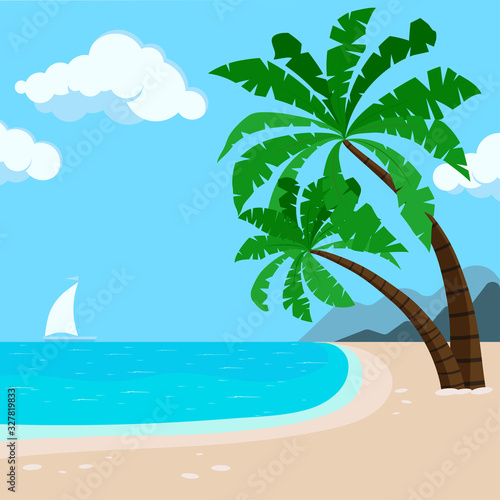 Tropical Hawaii beach background with palm trees, sea, sailboat. Wall mural