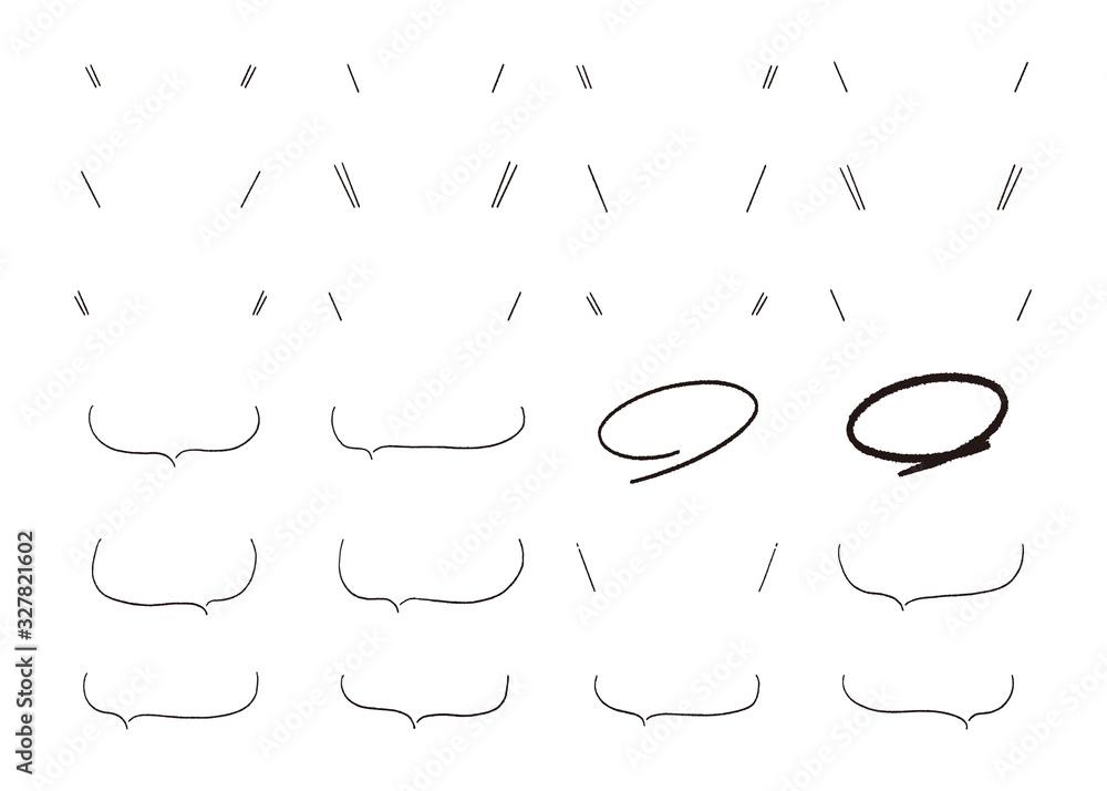 Fototapeta 黒の手描き吹き出しセット