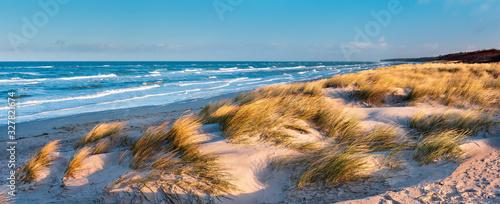 Fotografie, Obraz Sonniger Wintertag am Meer, Dünen am Strand, stürmische Ostsee, Darß