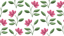 Pink Gouache Flowers With Gree...